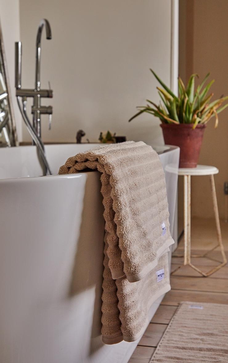 Natural Textured Ribbed Cotton Large Bath Towel  2