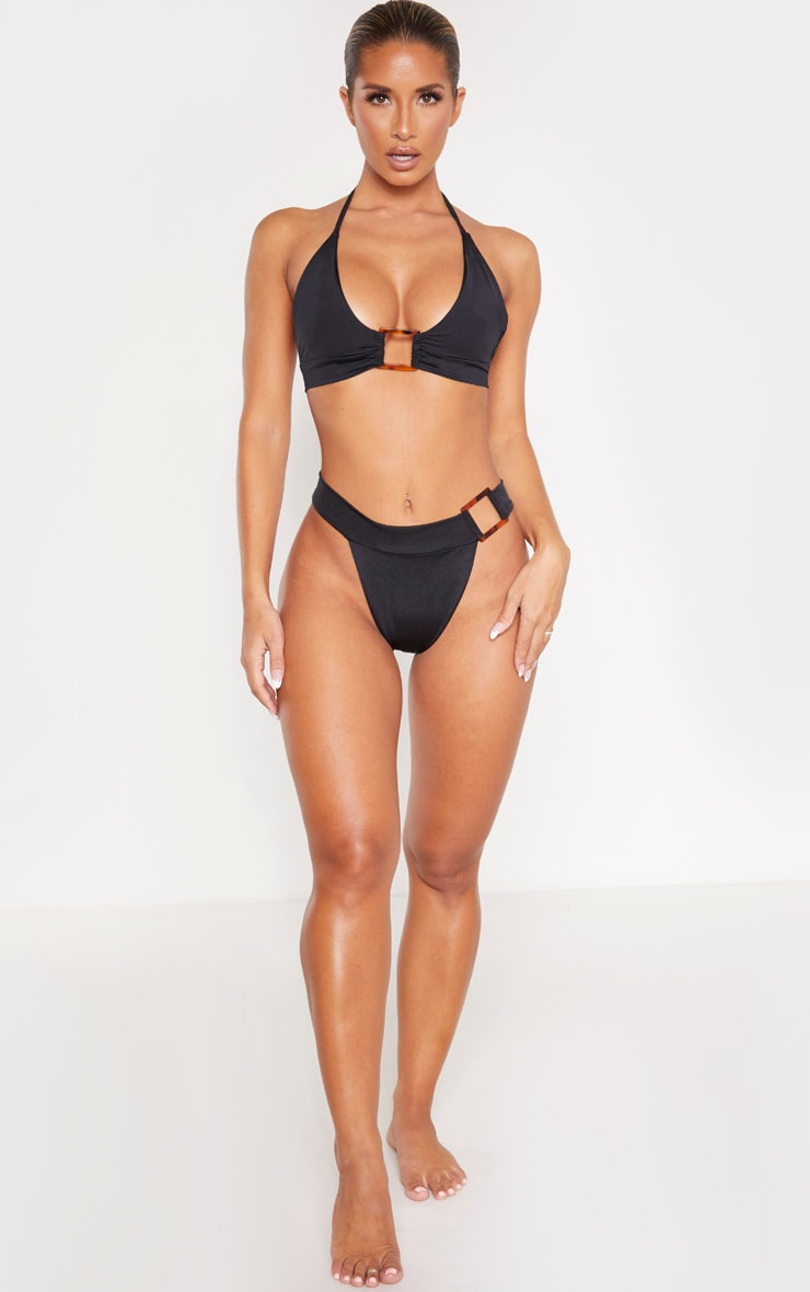 Black Square Tortoise Ring Bikini Bottom 4