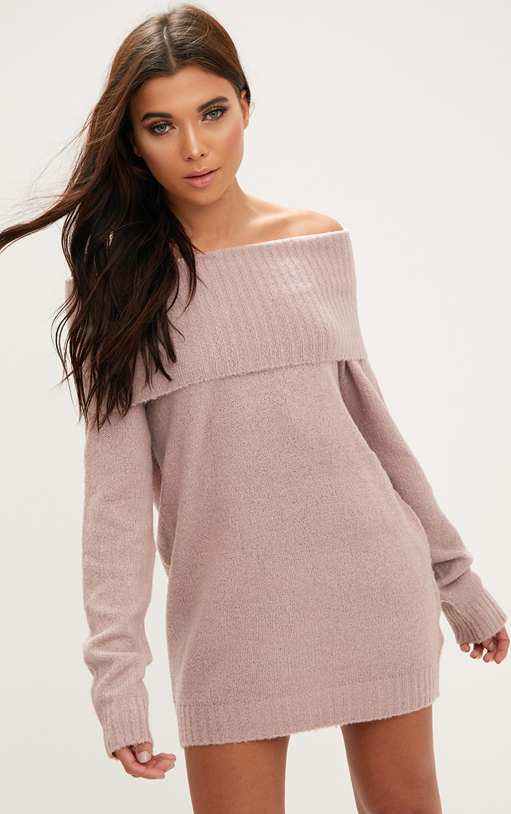 1b7fdaea44 Blush Oversized Bardot Jumper Dress. Shop the range of Knitwear today at  PrettyLittleThing  Express delivery available. Order now.