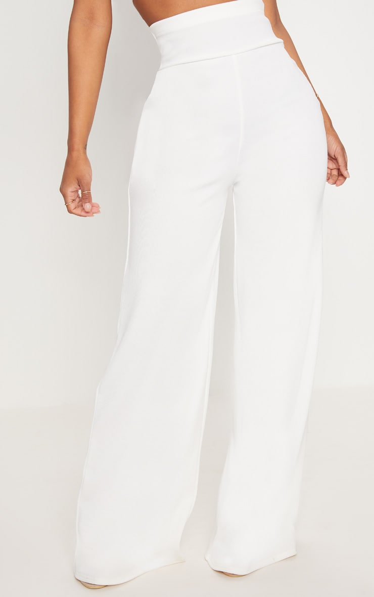 Shape White Bandage Extreme High Waist Wide Leg Trousers 2