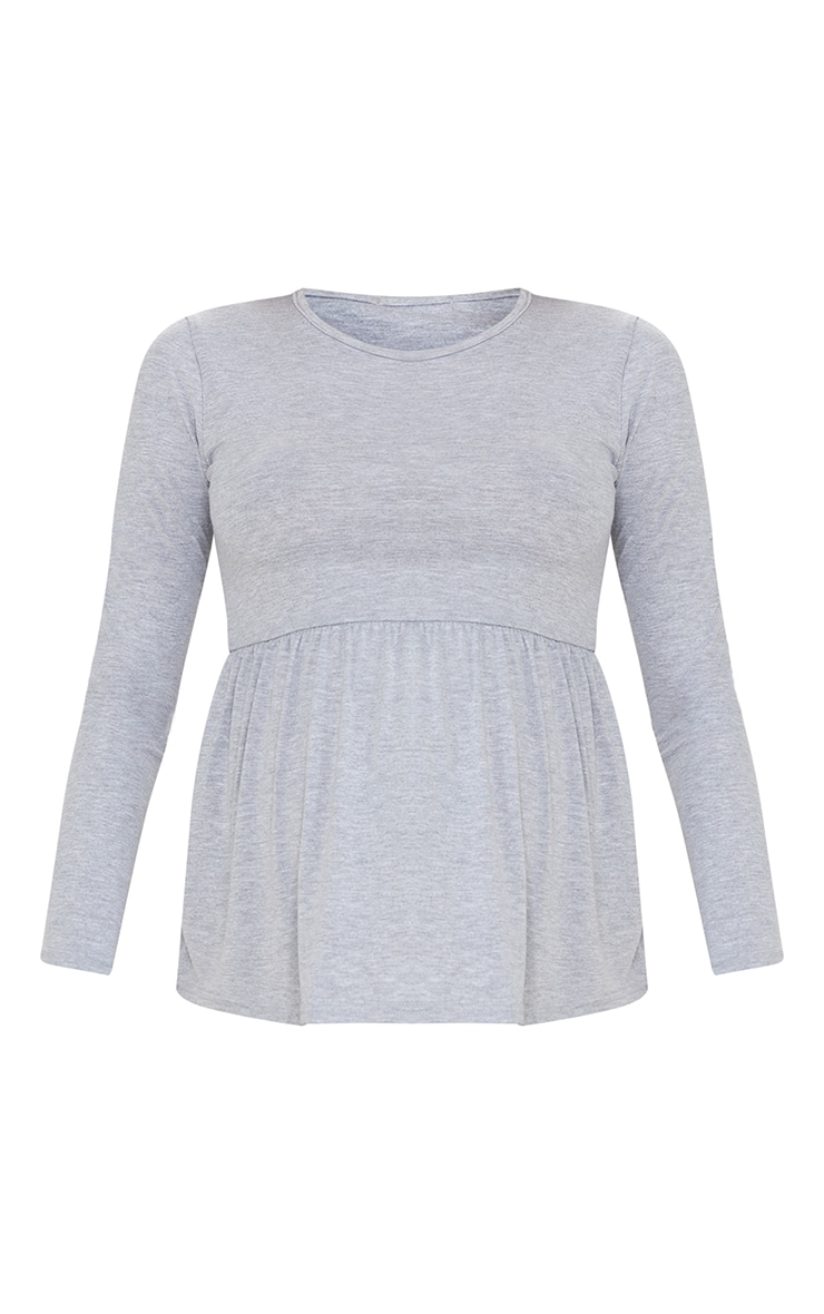 Maternity Grey Long Sleeve Frill Top 5