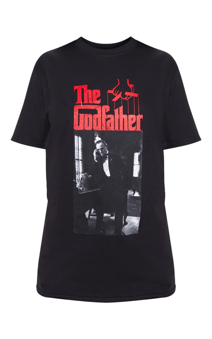 Black The Godfather Printed Oversized T Shirt 3