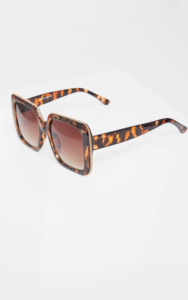 Brown Tortoise Oversized Square Cut Out Edge Sunglasses 2