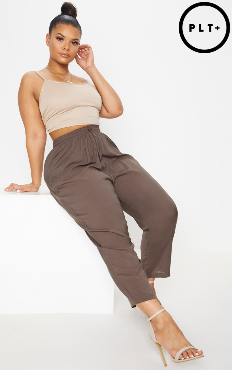 Plus Khaki Casual Trousers