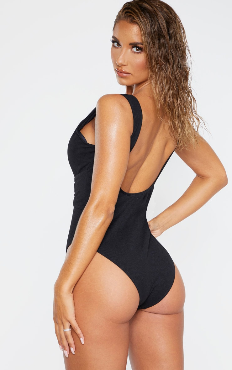 Black Rib Plunge Lace Up Belted Swimsuit 2