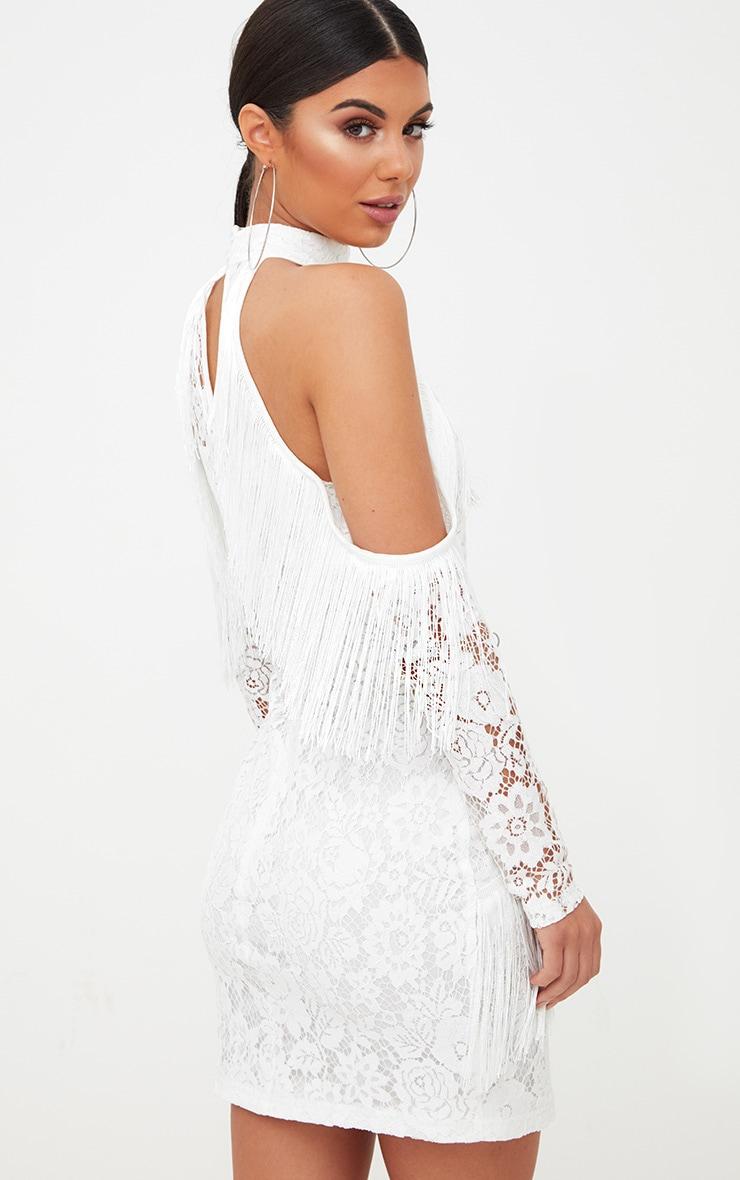 White Lace Tassel Detail Cold Shoulder Bodycon Dress 2