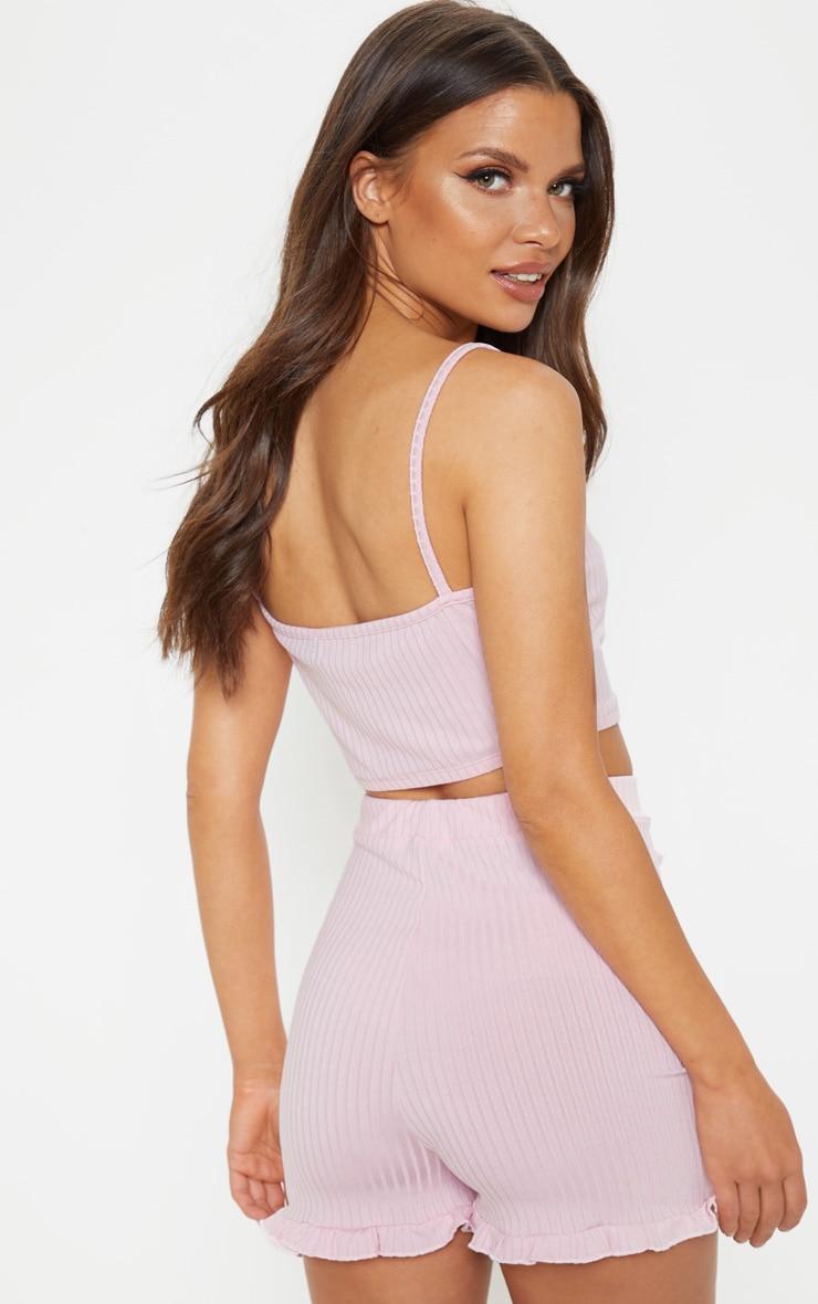 Ensemble de pyjama côtelé rose avec crop top & short volanté 2