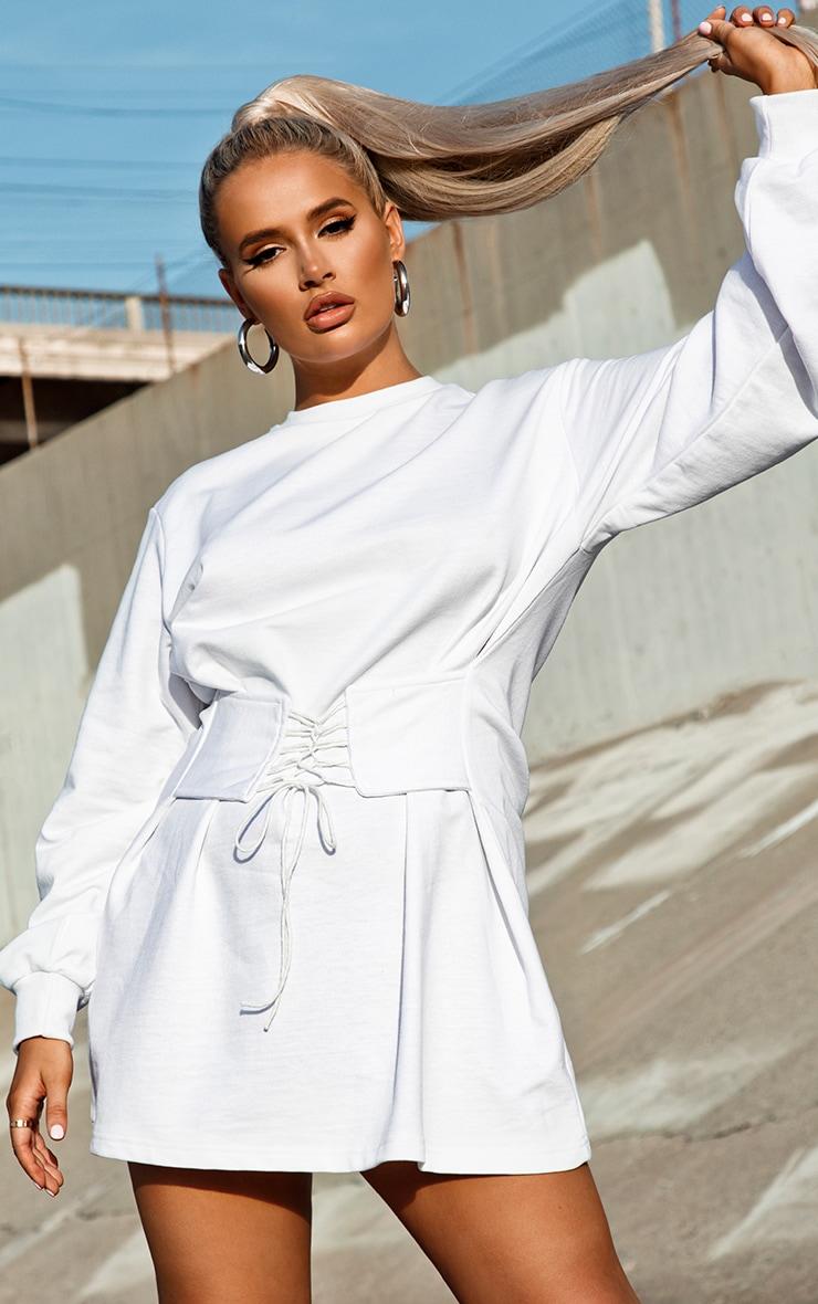 White Corset Detail Sweat Jumper Dress 1