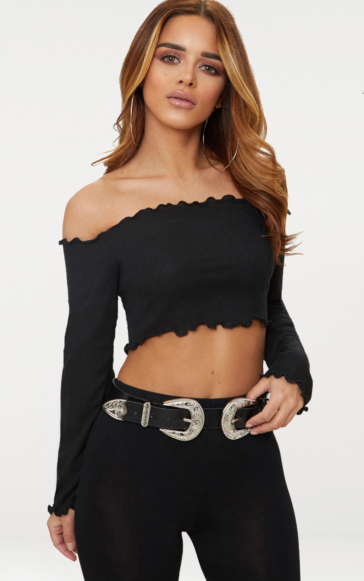 Petite Black Frill Edge Crop Top 1