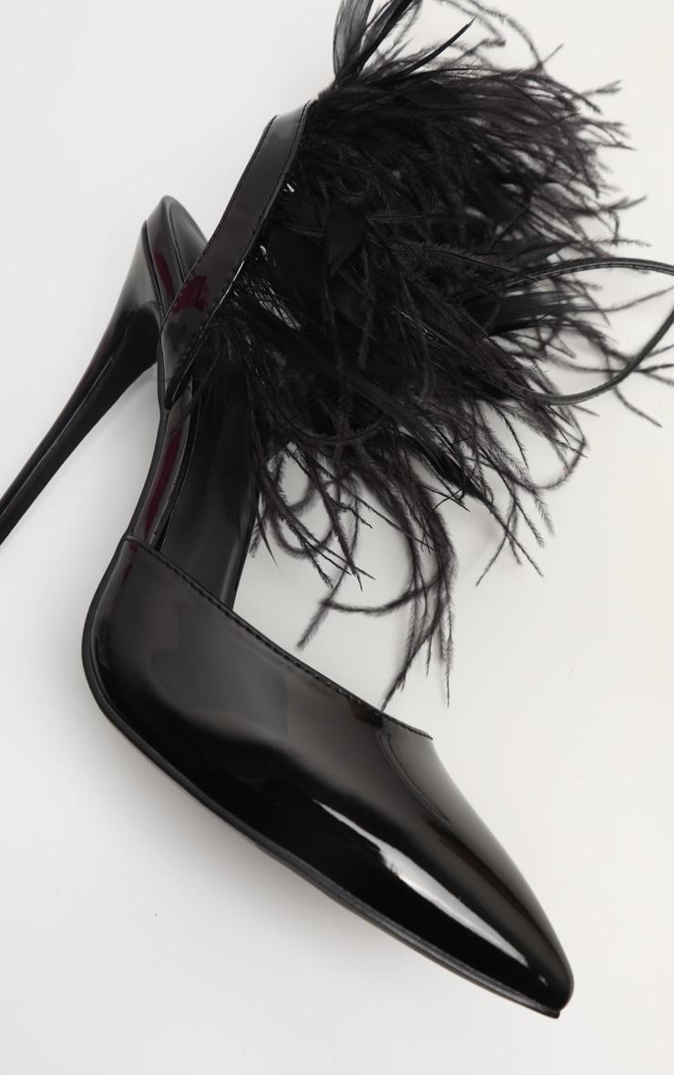 Black Feather Heel Ankle Tie Court Shoe 3