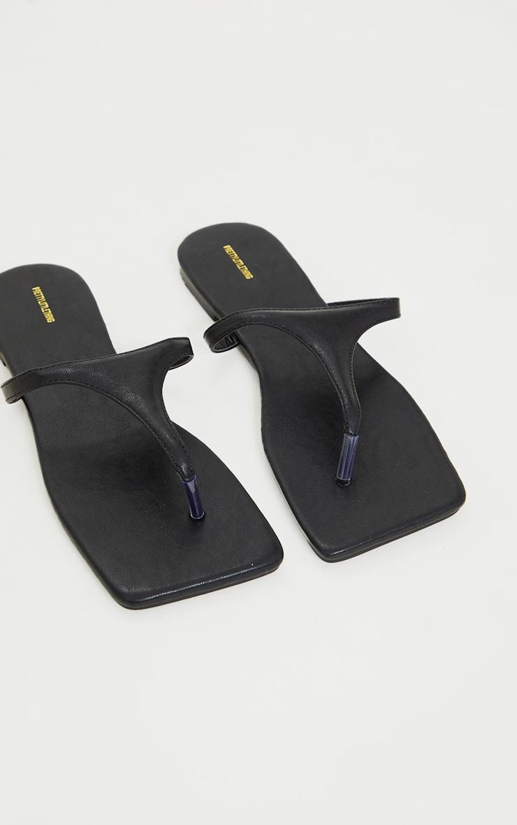 Black Square Toe High Flip Flop Strap Sandals 4