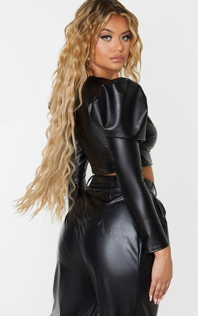 Black Faux Leather Puff Sleeve Cropped Tie Front Shirt