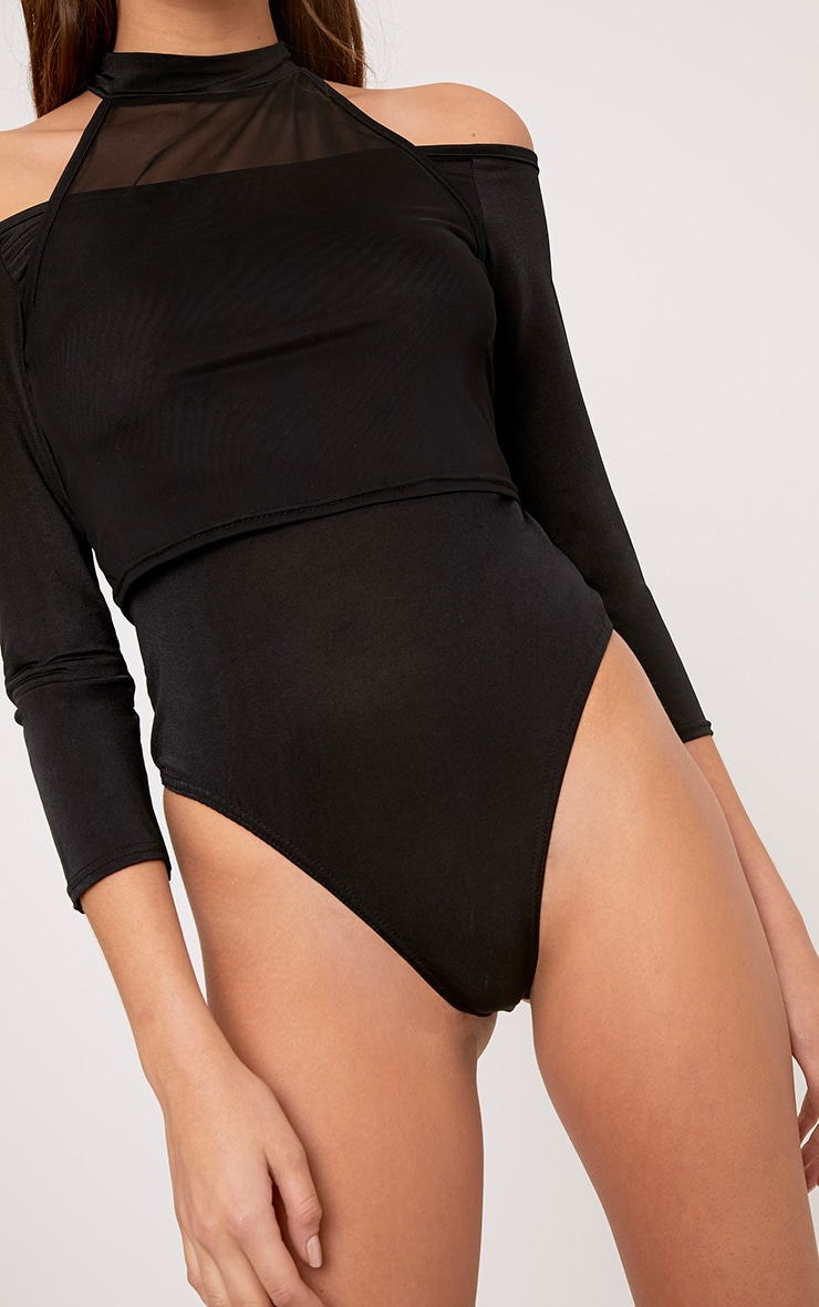 Veronica Black Slinky Mesh Bardot Bodysuit 6
