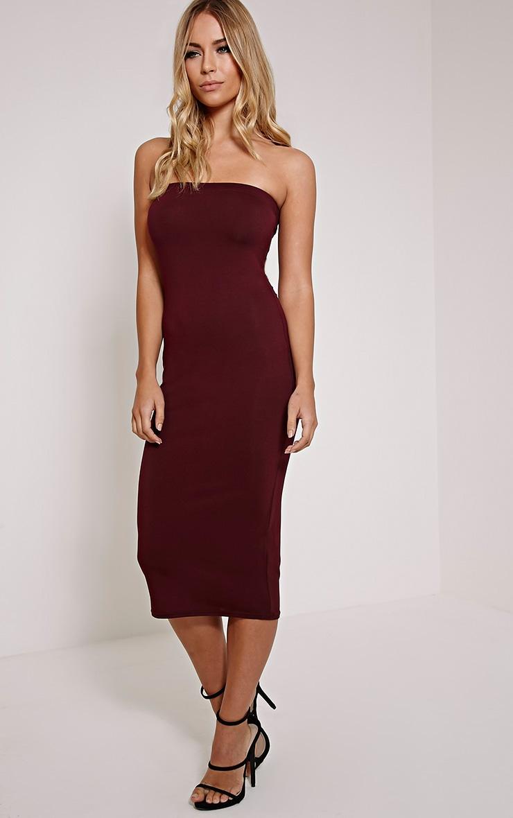 Basic robe midi bandeau en jersey prune 4