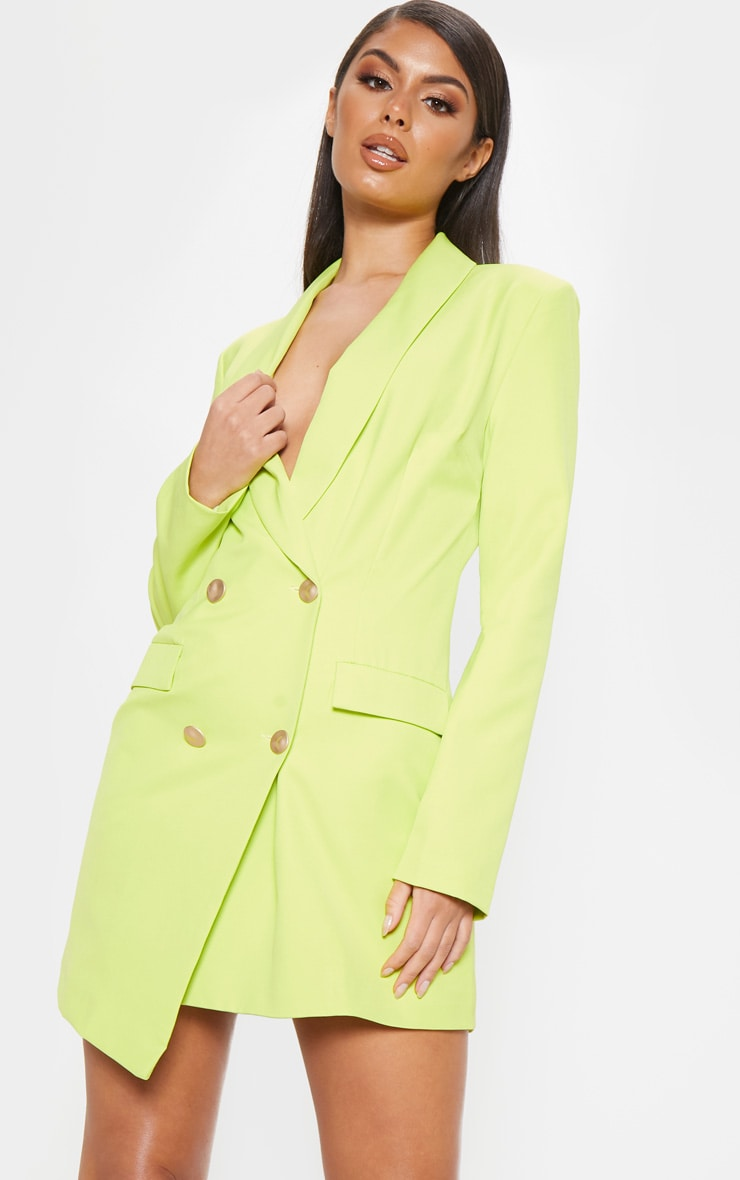 Bright Lime Gold Button Blazer Dress 4