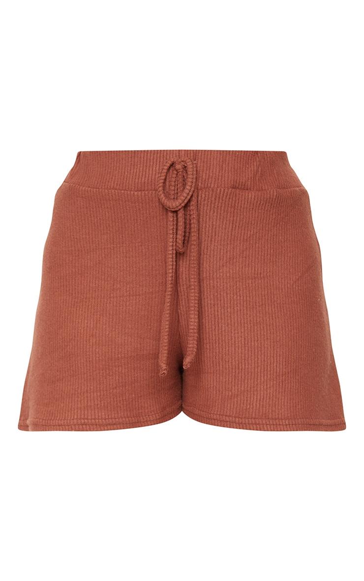 Brown Brushed Rib Floaty Shorts 6