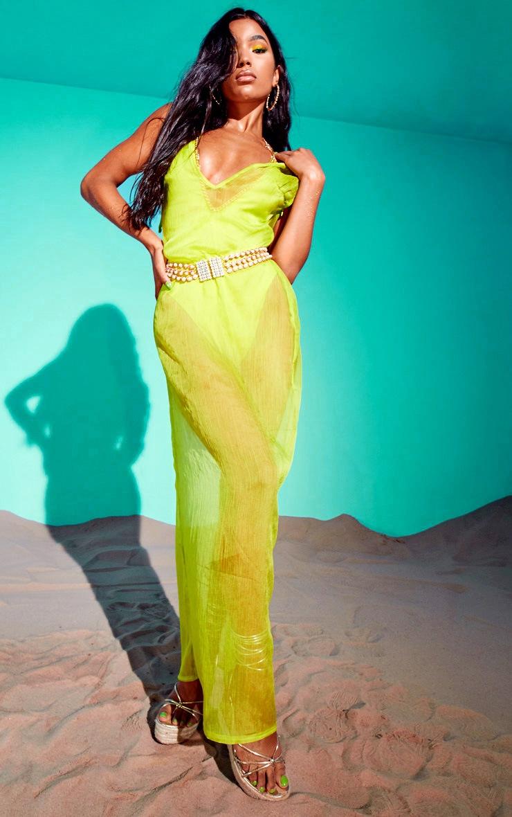 Lime Chiffon Maxi Beach Dress 3