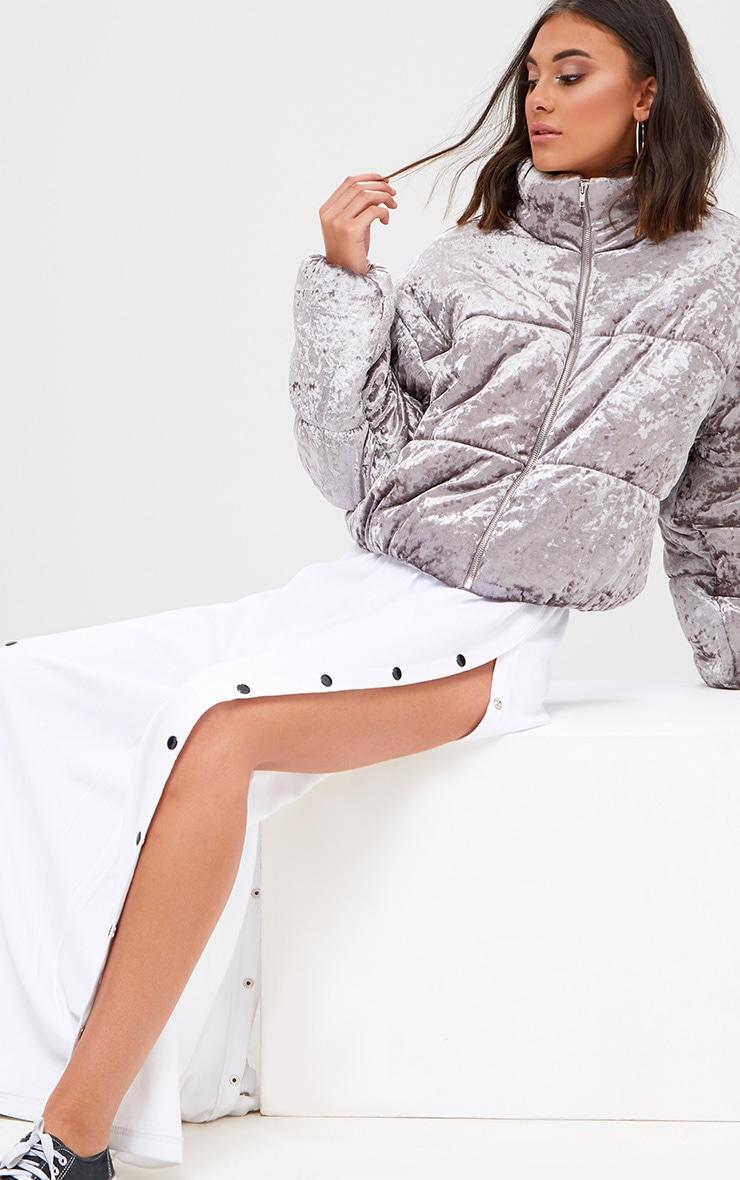 Grey Velvet Cropped Puffer Coat 4
