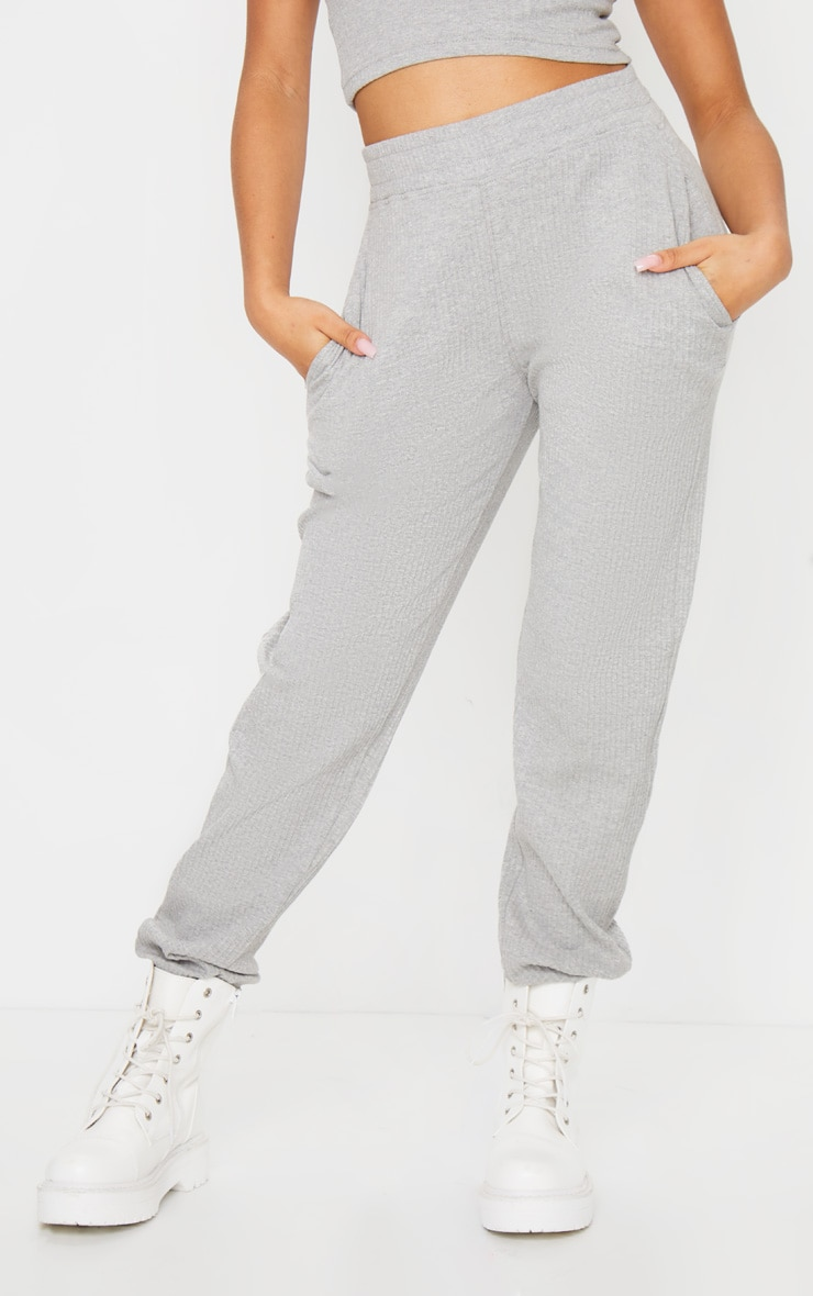 Petite Grey Ribbed Oversized Joggers 2
