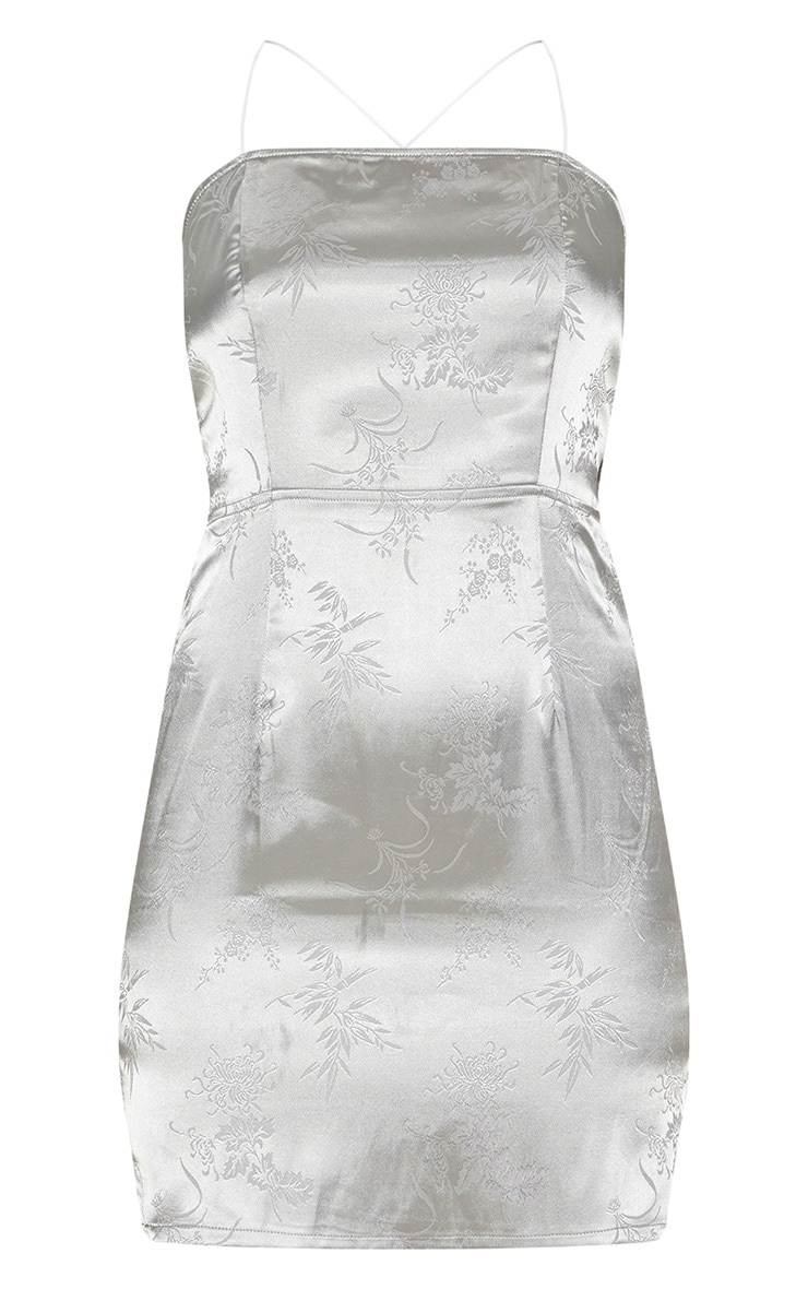 Silver Satin Oriental Lace Up Back Bodycon Dress 3