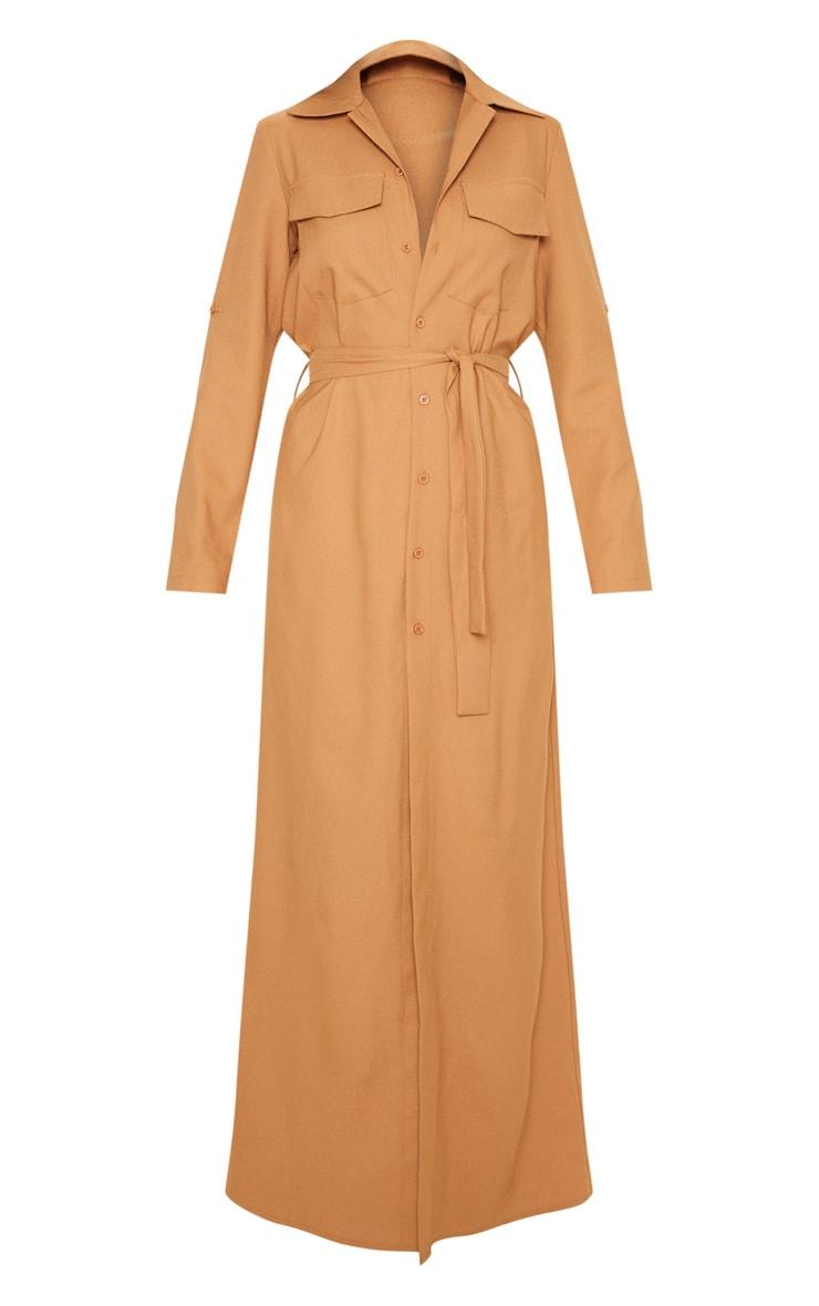 Dark Camel Maxi Shirt Dress 3