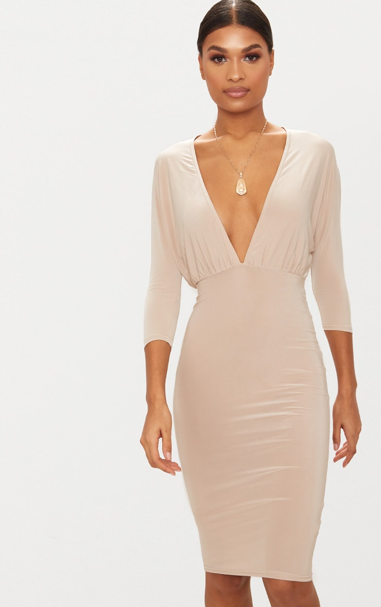 Nude Batwing Plunge Midi Dress