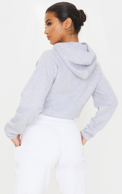 Grey Popper Drawstring Crop Hoodie