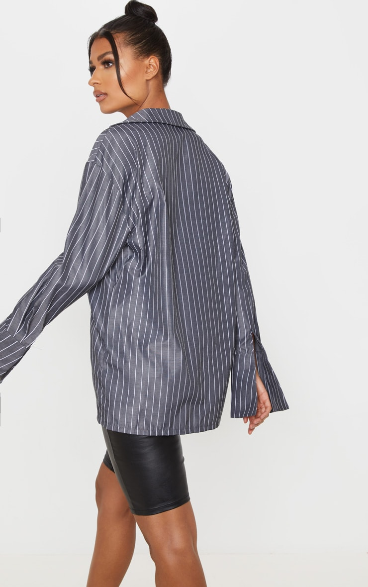 Black Pinstripe Oversized Dad Shirt 2