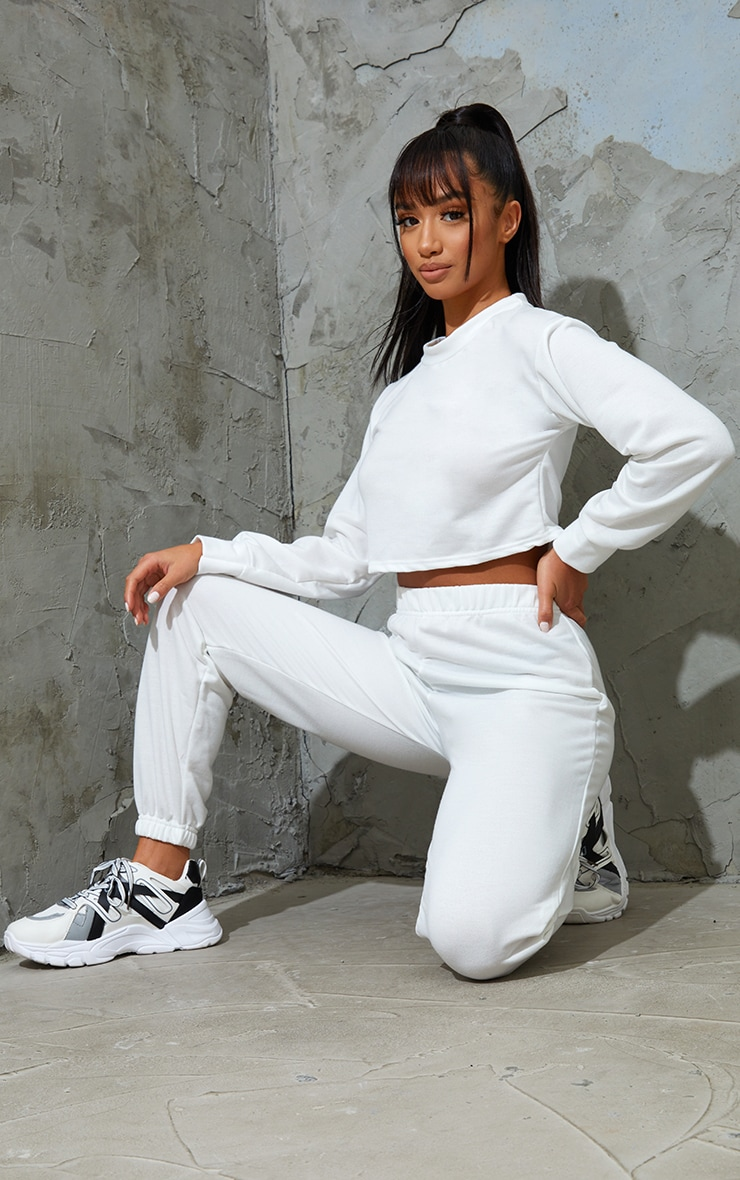 Petite White Cropped Sweat and Jogger Set 3