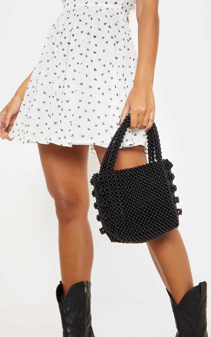 Black Beaded Box Bag  by Prettylittlething