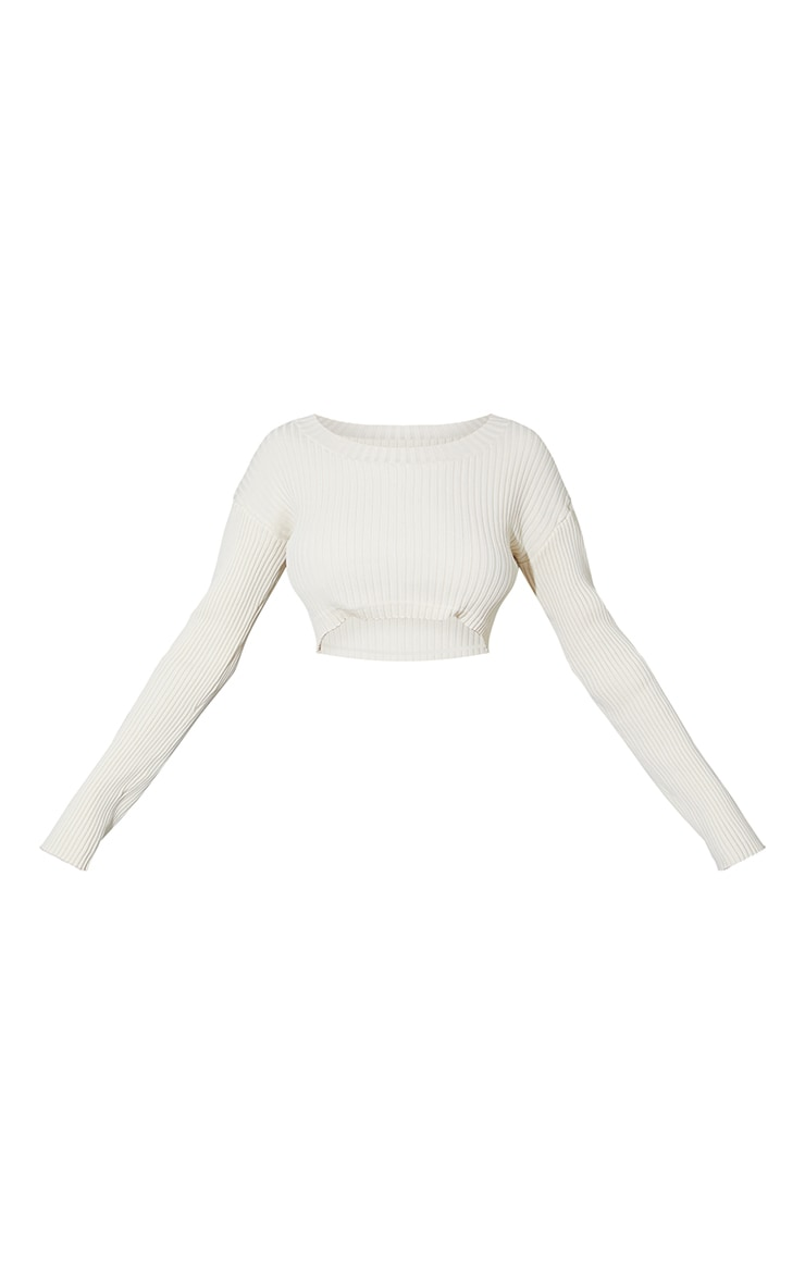 Cream Ribbed Super Cropped Knitted Sweater 5