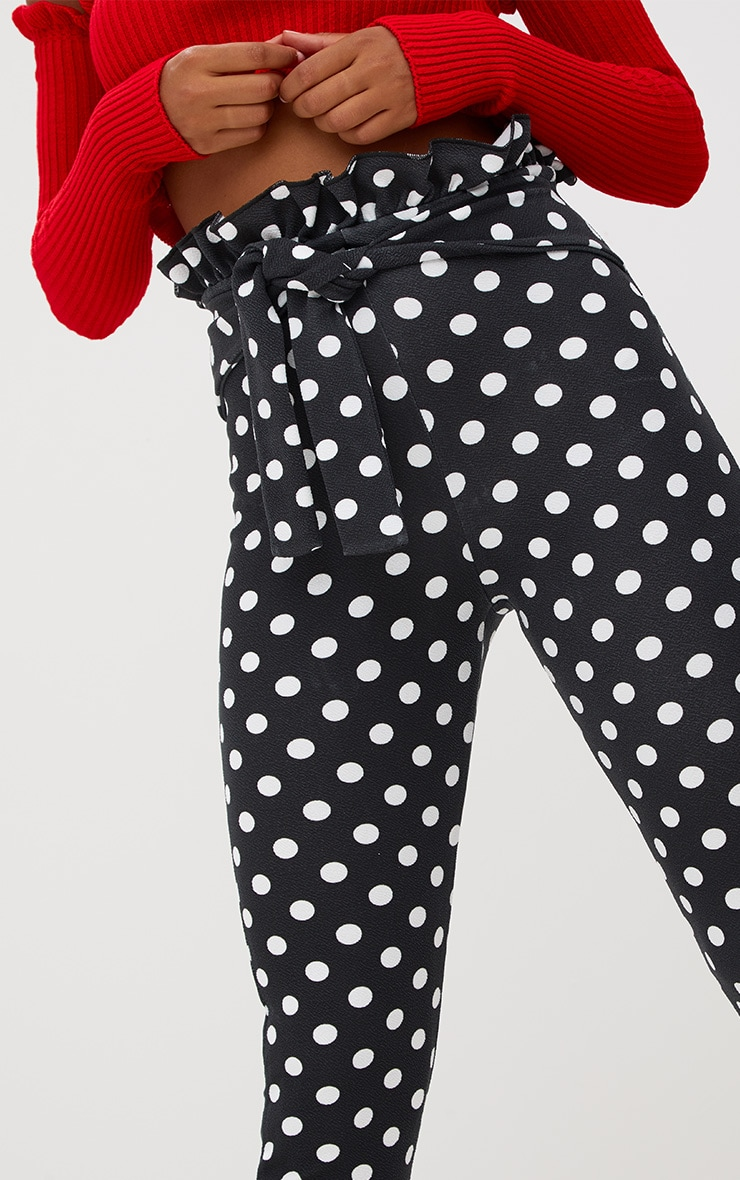 Black Polka Dot Paperbag Waist Skinny Trousers 5
