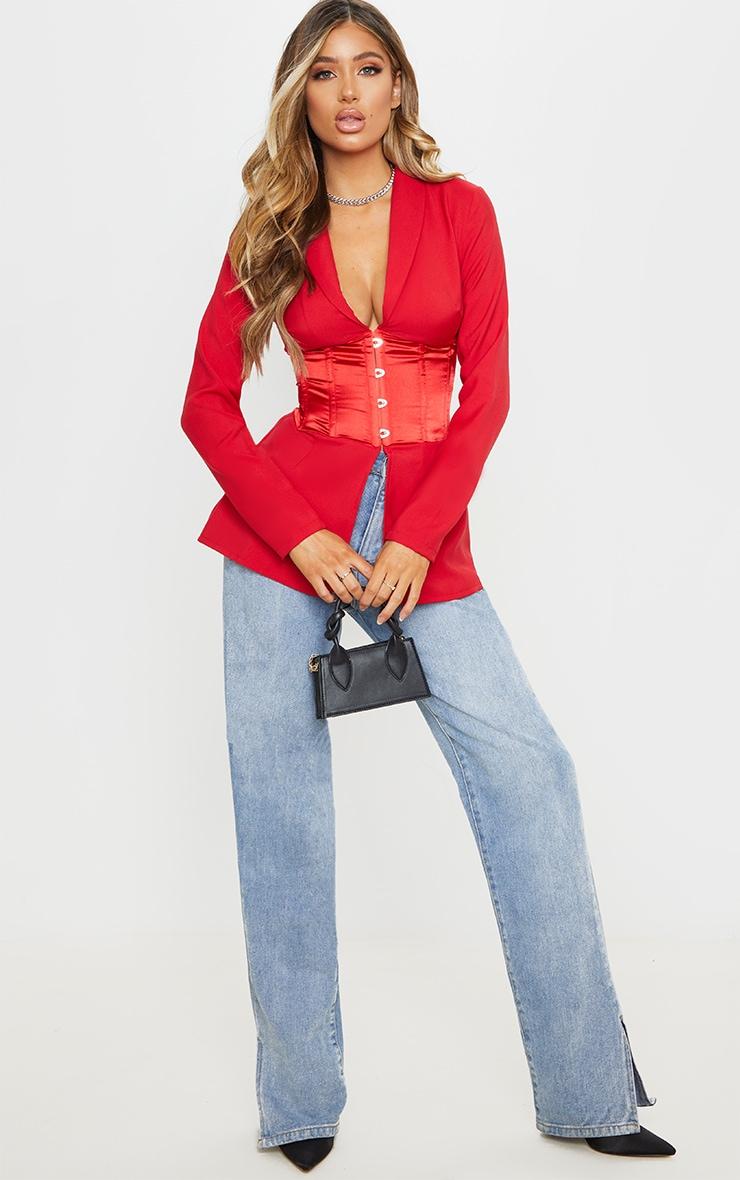 Red Woven Satin Contrast Corset Blazer 4