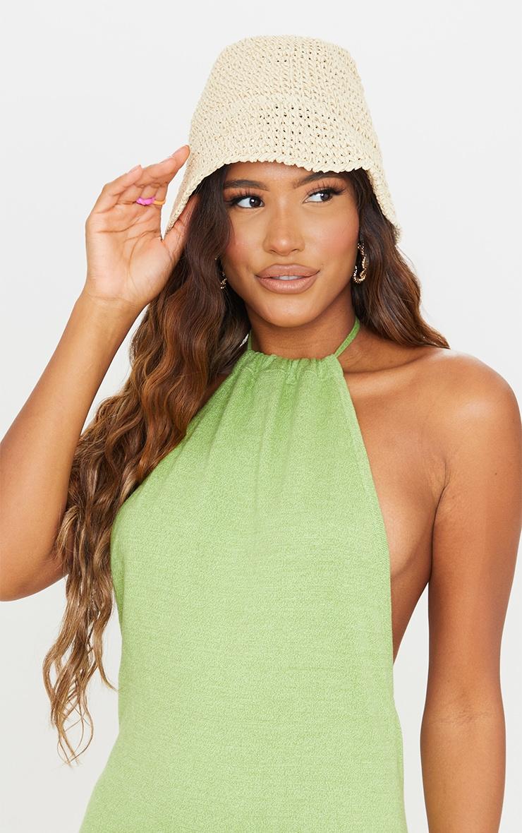 Cream Crochet Bucket Hat 1