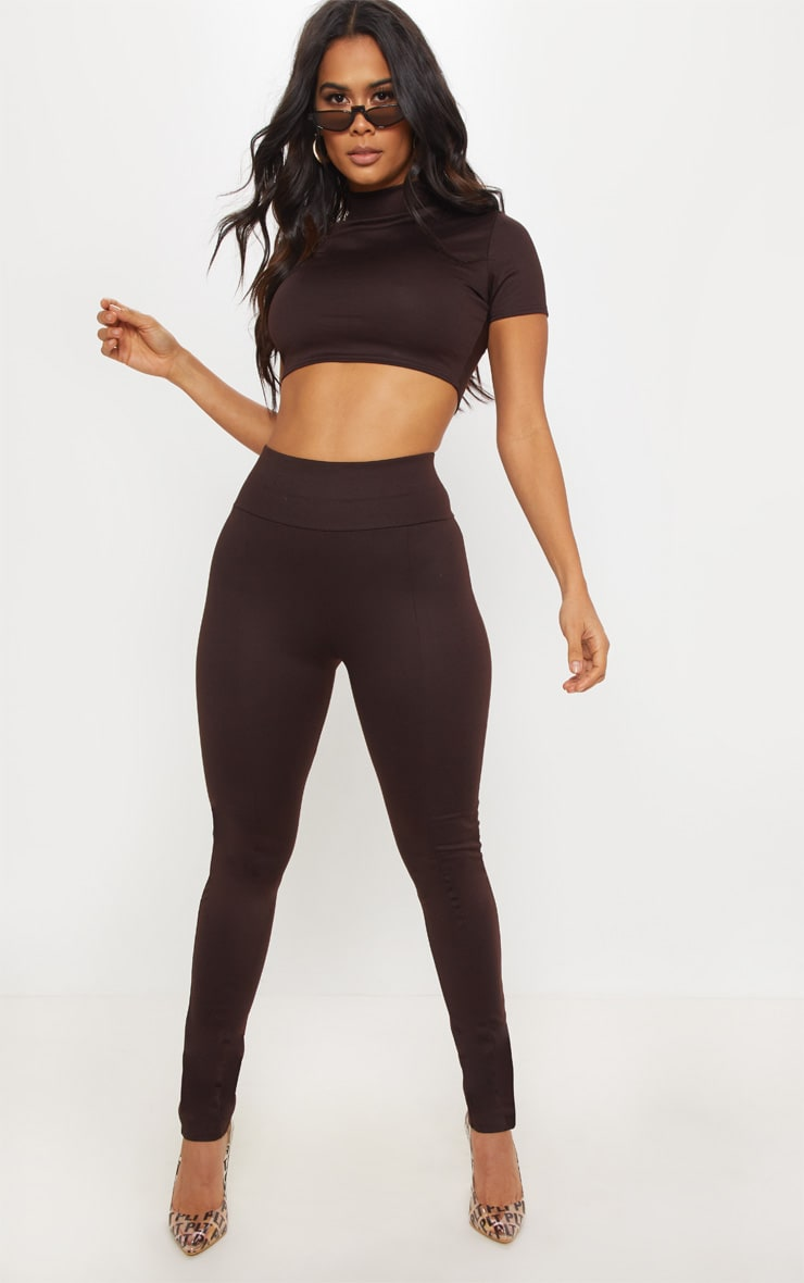 Chocolate Jersey Panelled High Waisted Legging