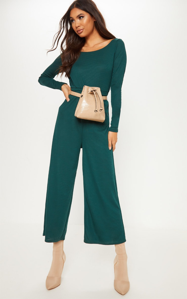 Emerald Green Rib Off Shoulder Culotte Jumpsuit 1