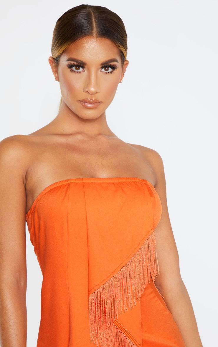 Orange Bandeau Tassel Front Midi Dress 5