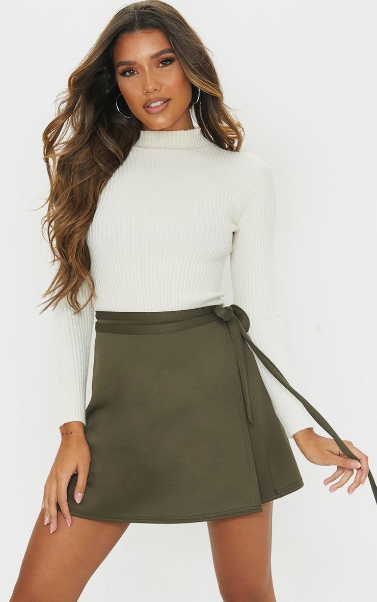 Khaki Wrap Scuba Mini Skirt 4
