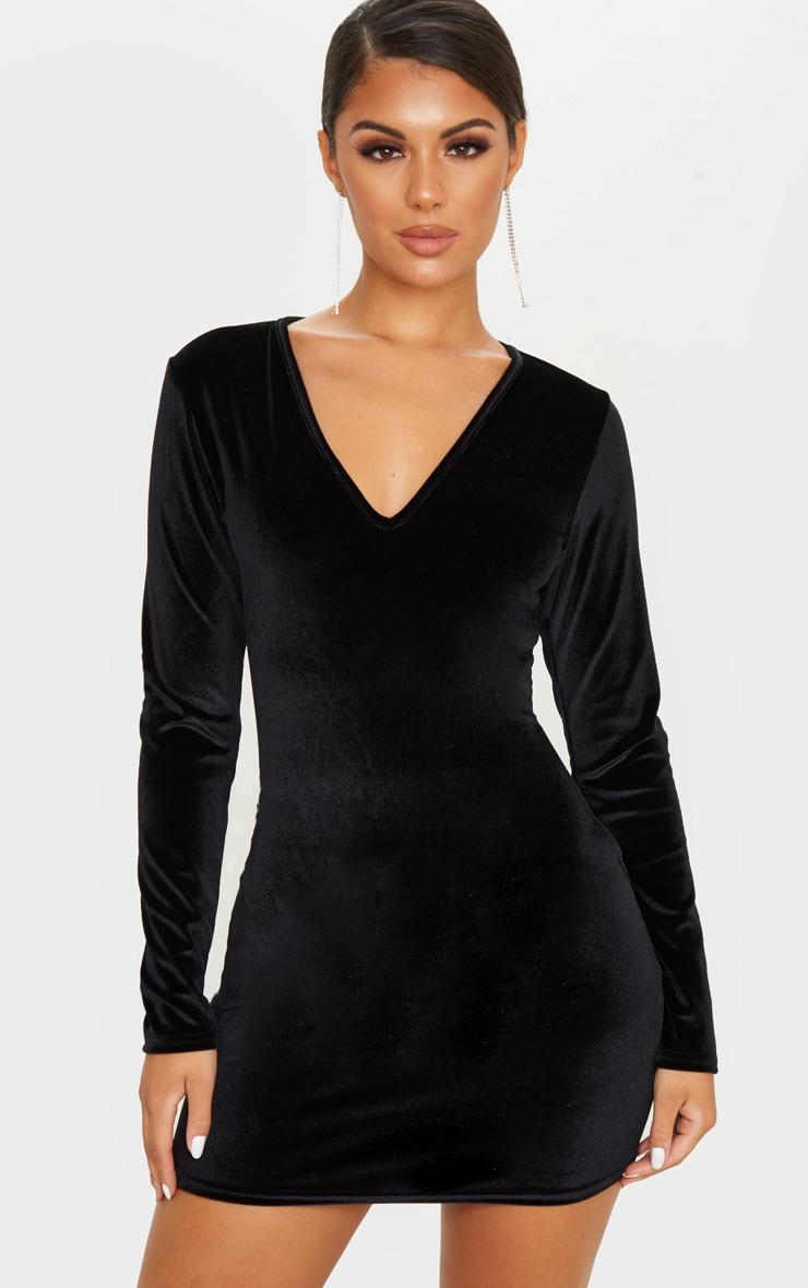 Party black velvet long sleeve bodycon dress outfit designers kardashian work