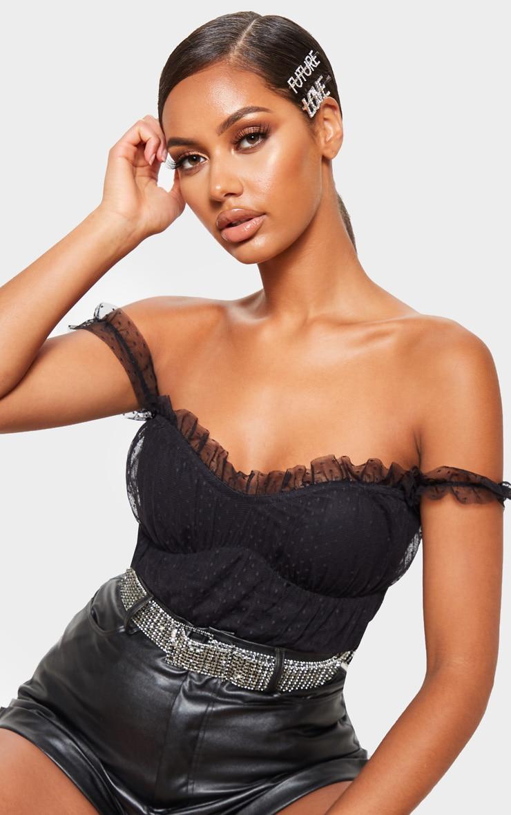 Black Dobby Mesh Bardot Bodysuit  6