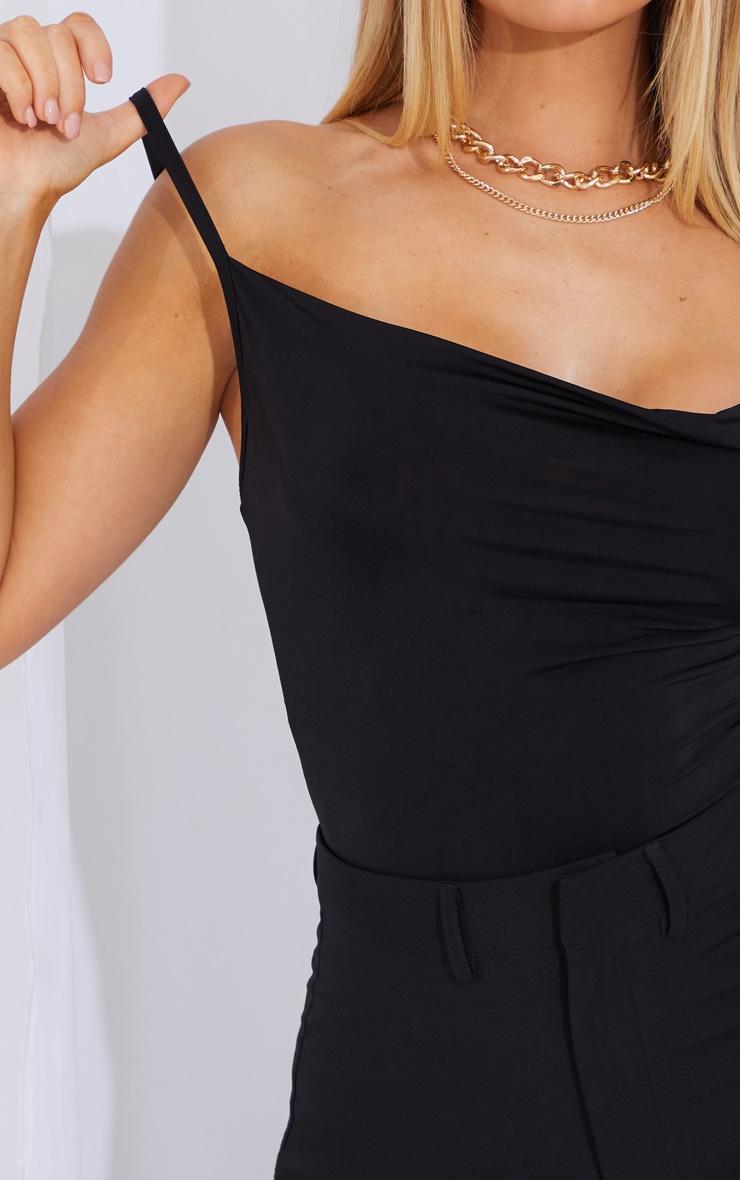 Black Soft Touch Cowl Neck Bodysuit 4