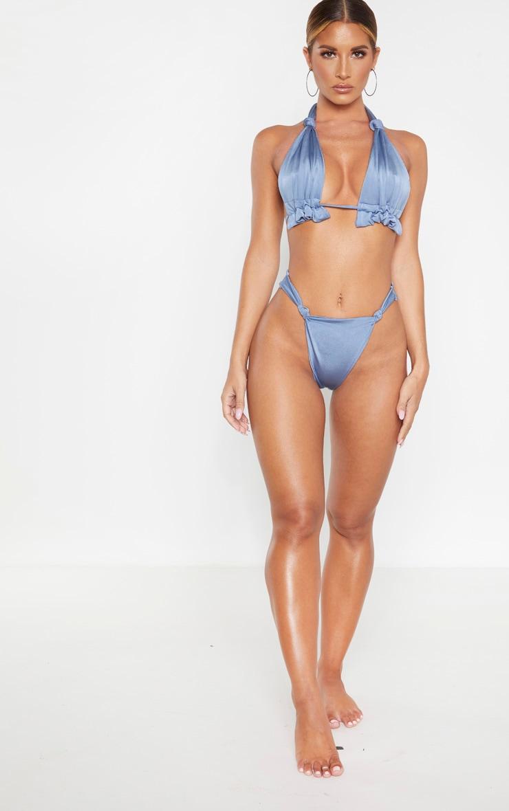 Steel Blue Knotted Bikini Bottom 4