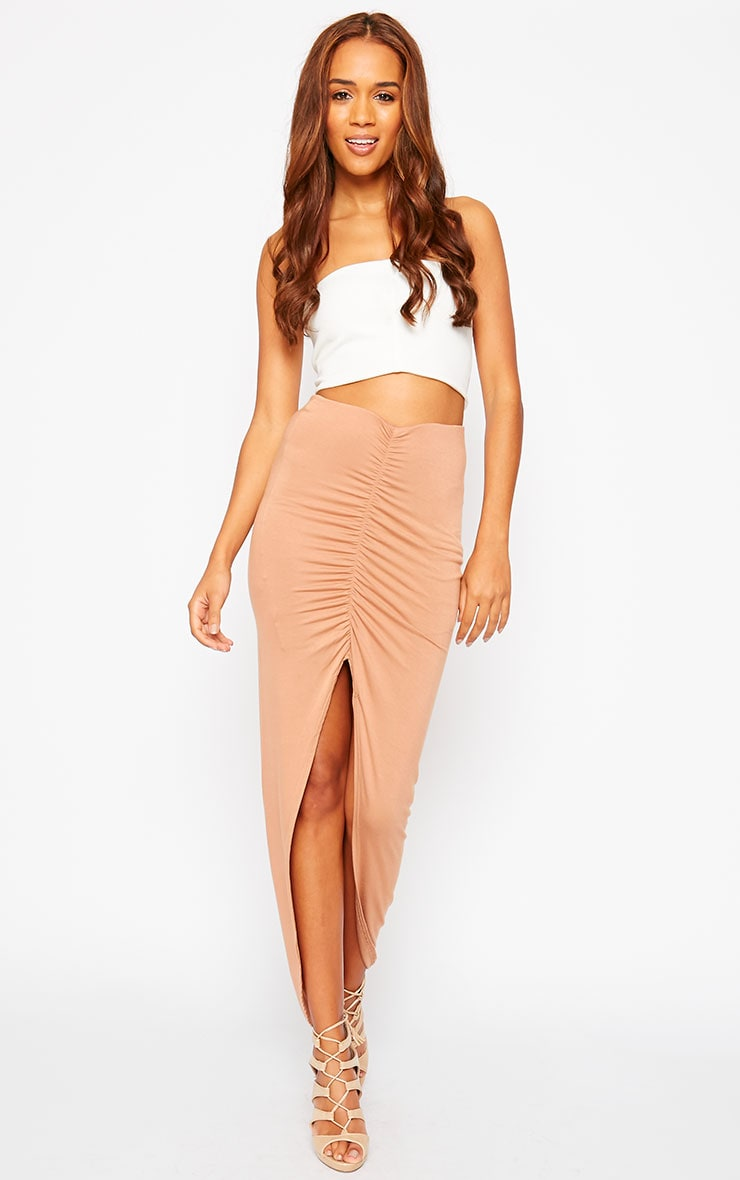Omari Camel Ruched Front Jersey Maxi Skirt 1
