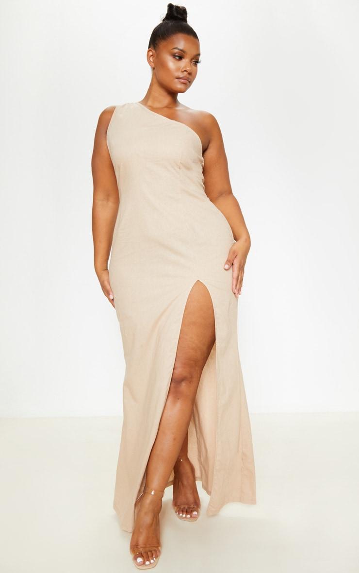 Plus Stone Woven Asymmetric Maxi Dress  1