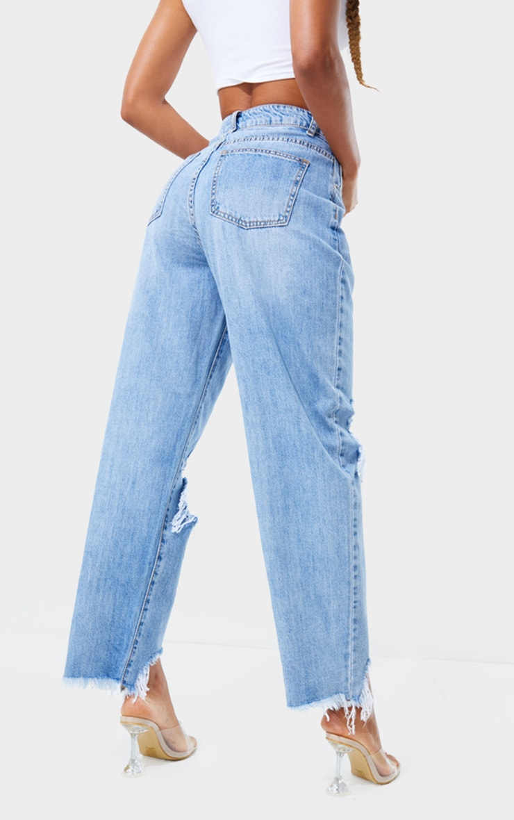 PRETTYLITTLETHING Light Blue Wash Extreme Ripped Hem Boyfriend Jeans 3