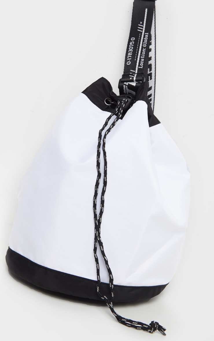 PRETTYLITTLETHING White Strap Nylon Drawstring Bag 3