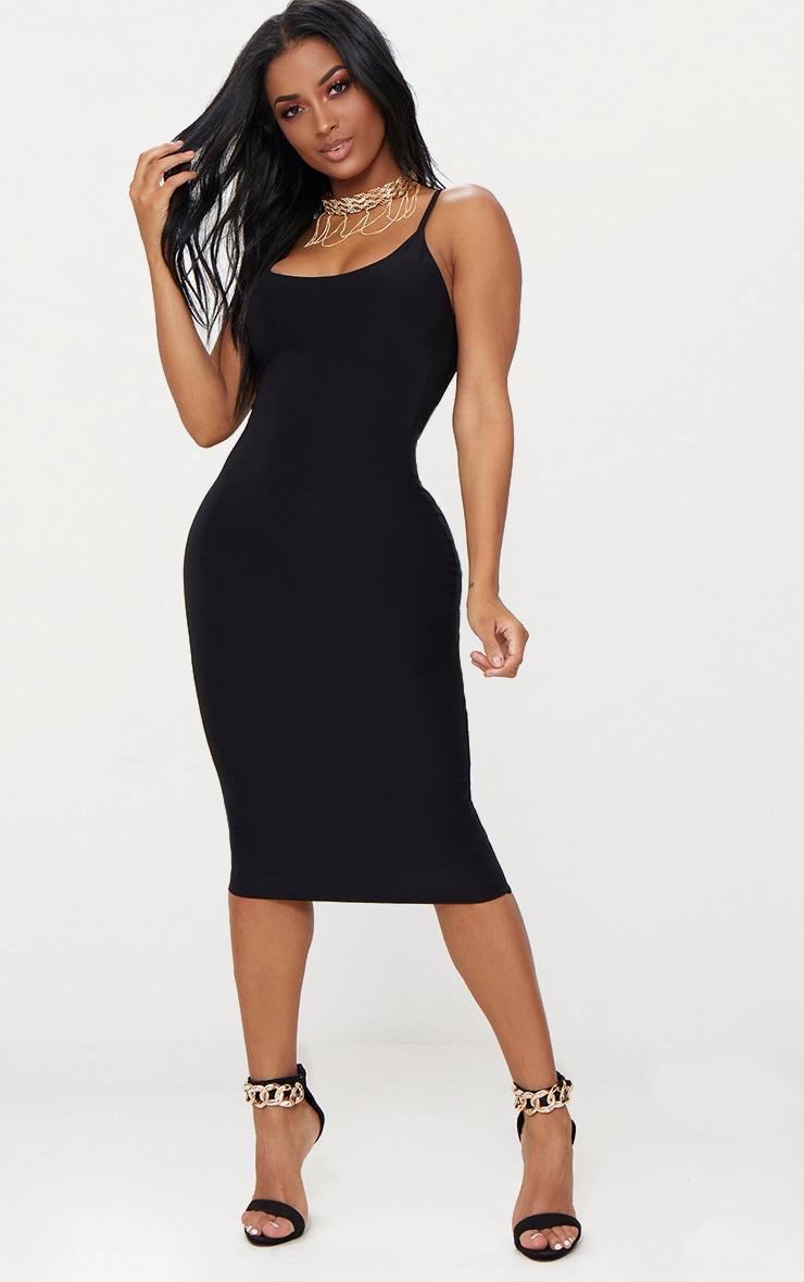 57cc98d3365 Shape Black Slinky Strappy Scoop Neck Midi Dress image 1