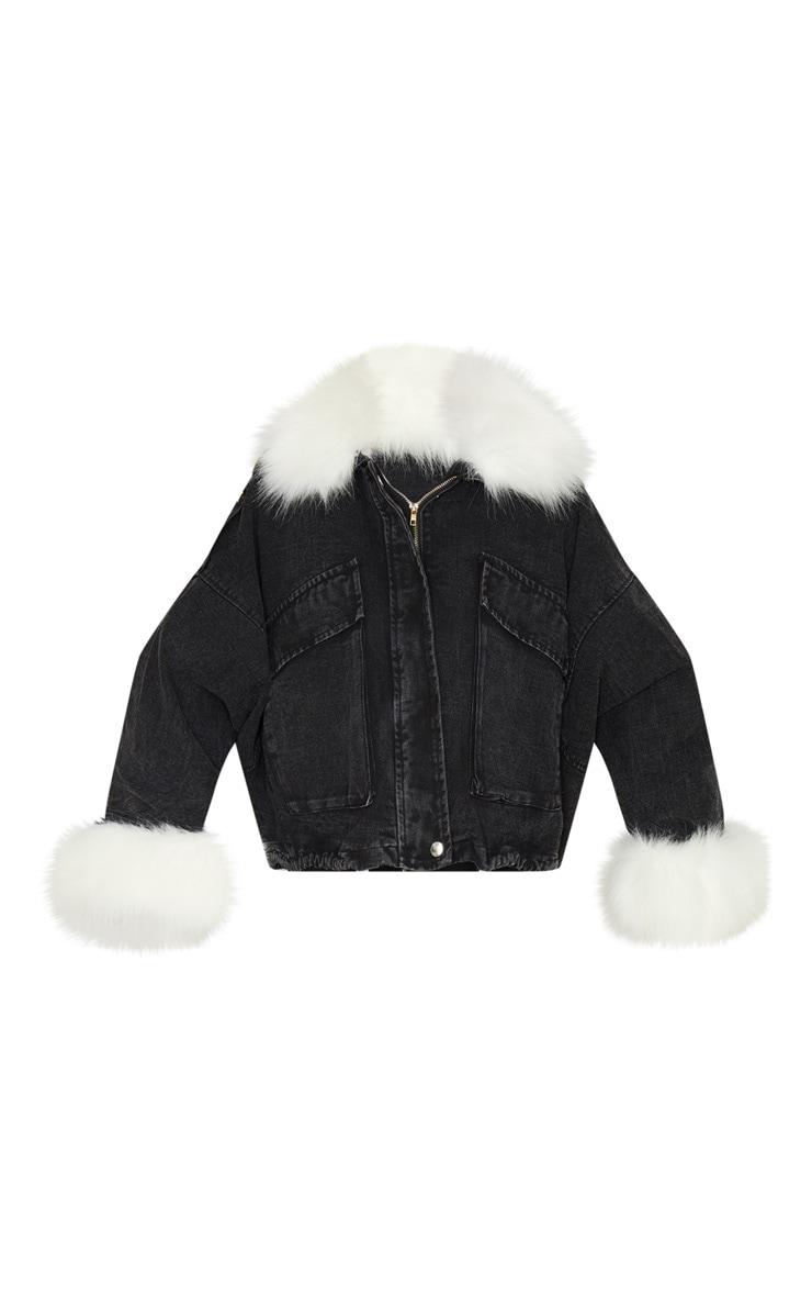 Black Faux Fur Trim Denim Jacket 3