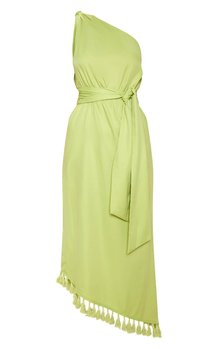 Lime One Shoulder Tassel Dress 3