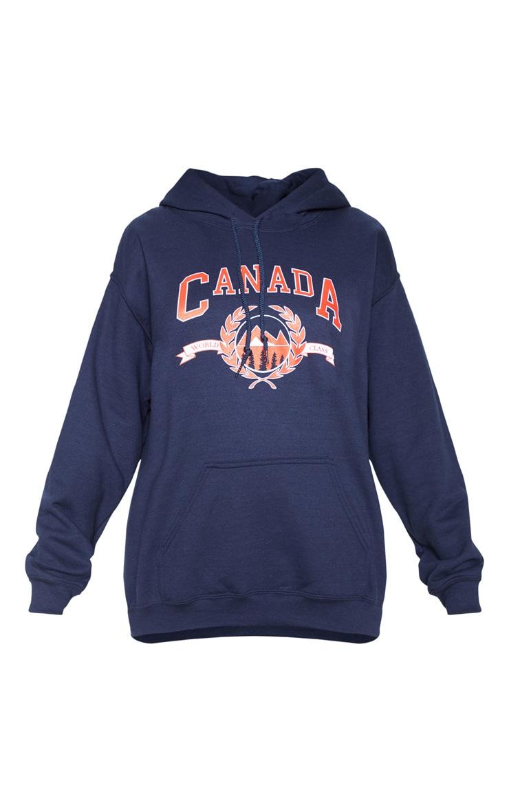 Hoodie bleu marine à slogan Canada 3